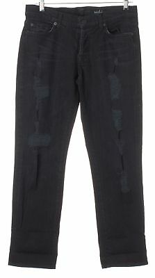 7 FOR ALL MANKIND Black Mid-Rise Distressed Capri Jeans Size 27