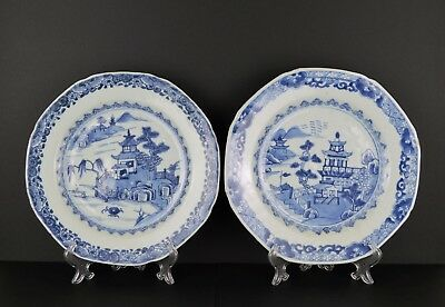 A Similar Pair Of Chinese 18Th Century Porcelain Blue & White Landscape Plates