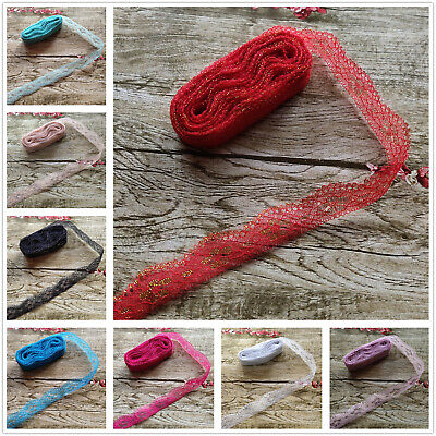 10yards 25MM Width Embroidery Lace Ribbon DIY Embroidered For Sewing Decoration