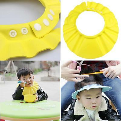 Baby Kids Adjustable Hair Wash Hat Shampoo Bathing Shower Eyes Shield Yellow FV