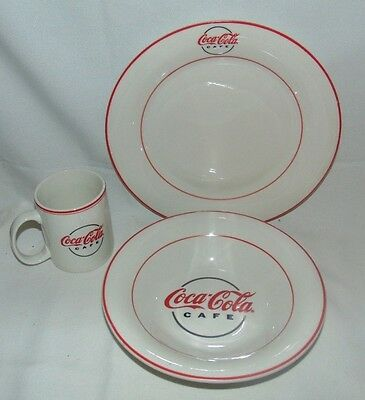 Coca Cola Cafe Gibson 2000 Plate Cup Bowl