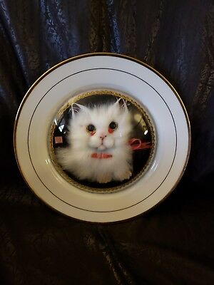 Vintage 3D Fuzzy Kitschy Kitty Under Glass Dome On White Plate