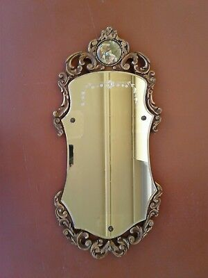 Antique Wall Mirror  Etched Beveled Limoge Style Scene Wood American