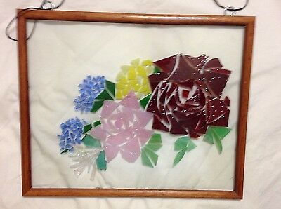 Art Glass Picture of Roses 8 by 10 Frame Signed by Artist