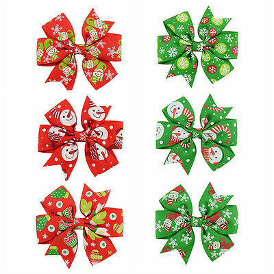 6Pcs Girl Christmas Holiday Gift Snowflake Ribbon Hair Bows Clip Girl Hairpin,,