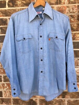 Vtg 70s LEVIS USA Orange Tab Chambray Work Button Shirt Mens Rare Western XL