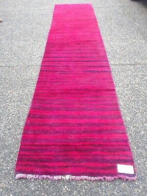"""Vintage OVER DYED Persian GABBEH 2'.6""""X 12'.3"""" Handknotted Wool Pile Rug YVR-G15"""