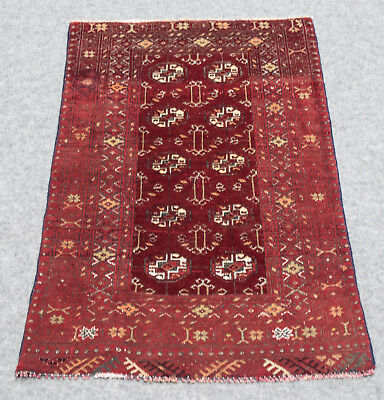 """1900 ANTIQUE AFGHAN MOURI BUKHARA 2'.3""""X3'.8"""" Handknotted100%Wool Pile Rug GM599"""