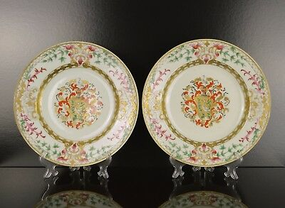 A Superb Pair Of Perfect Chinese Armorial Plates With Grill Family Crest Sweden