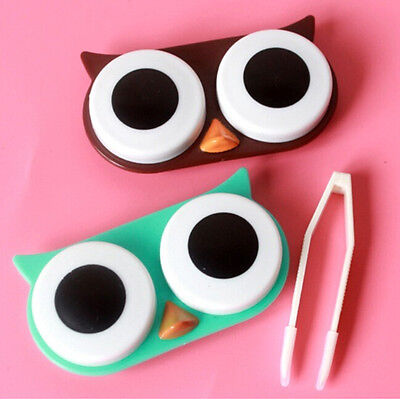 OWL Contact Lens Case Cute Travel Storage Soak Kit Hard Holder Container Box RH