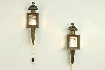 Pair of Brass Lights Vintage Carriage Lanterns or Wall Sconce Lamps #29981
