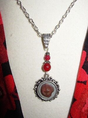Original Ancient Biblical Widows Mite Coin Necklace Pendant with Red Jade beads