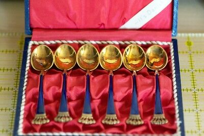 Vintage Danish coffee spoons sterling gold wash blue enamel Set of 6 with case