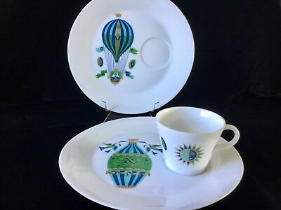 Georges Briard Fancy Free Hot Air Balloon Snack Set of 2 Plates & 1 Cup