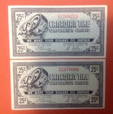 25c Canadian Tire CTC-G07 Lot Of 2 Free Combined Shipping ac15