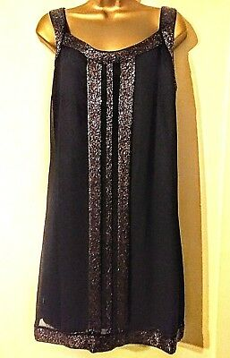 Uk 18 Vintage Style 1920's Gatsby Flapper Beaded Sequin Art Deco Party Dress