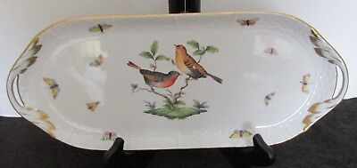 Herend Hungary Hp 436/ro Rothschild Bird Basketweave Bugs Hdld Serving Tray 14""