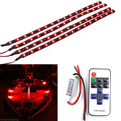 Car Boat Wireless Remote Control Motorcycle Red LED Light Strip Kit one set 4pcs