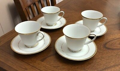 Noritake Contemporary Fine China             Footed Cups & Saucers (4 of each)