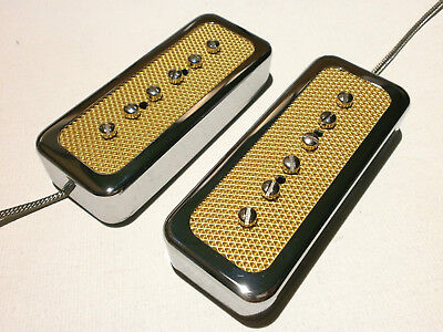 FOIL P90 SOAP BAR Pickup  SET BRIDGE and NECK Gold Chrome Electric Custom Guitar