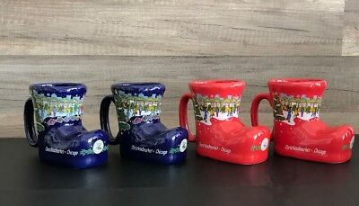 (4) Chicago Christkindlmarket Boot Mugs Christmas 2006 Blue (2) and 2007 Red (2)