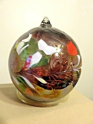 """Hand Blown  Glass Witch Ball Christmas Ornament Silvery Mauve, Rose, White  4.5"""""""