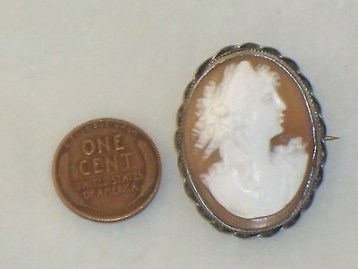 Antique Shell CAMEO SILVER mount PIN Art Nouveau Vintage Lady Brown White Old