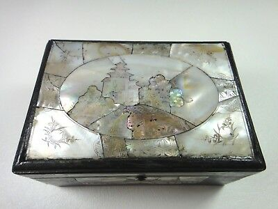 ANTIQUE CHINESE INLAID ETCHED MOTHER OF PEARL TEMPLE HAND CARVED WOOD BOX 19thC