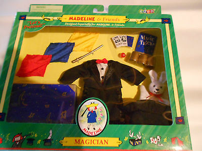Madeline Magician Outfit 8 Inch Doll Magic Wand Hat Trunk Suit Rabbit Scarf New