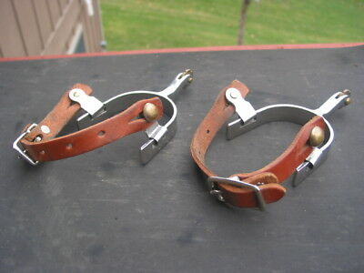 Quality Steel Western Spurs With Weaver Leather Straps