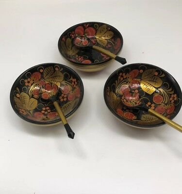 Vintage Russian Folk Art Lacquered Wood Painted Red & Gold Set 3 Bowls 3 Spoons