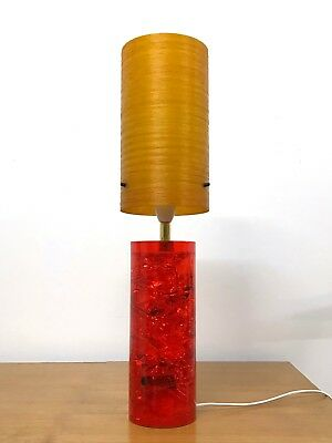 60s 70s vintage retro Mid Century crushed ice Shattaline lamp resin & fibreglass
