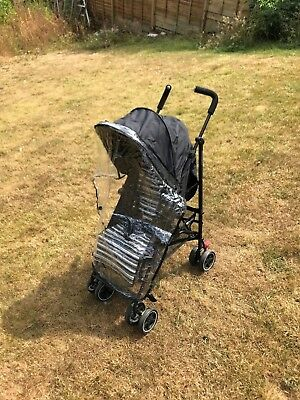 Mothercare single pushchair with rain cover grey in colour