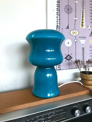 70s Beautiful vintage Mid Century Holmegaard style blue cased glass table lamp