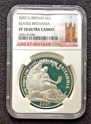2007 Great Britain S£2  PROOF 1 ounce Silver Seated Britannia NGC PF70UC | OGP