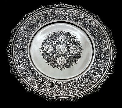Beautiful Fine Antique Eastern Persian Islamic Solid Silver Hallmarked Tray 423g