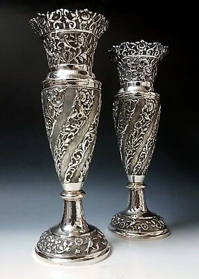 Large Finest Antique Eastern Persian Islamic Low Grade Solid Silver Vases 850g
