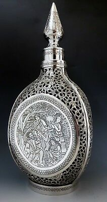 Large Finest Antique Eastern Persian Islamic Solid Silver Signed Decanter 1490g