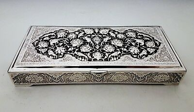 Fine Antique Eastern Persian Islamic Hand Chased Signed Solid Silver Box 372g