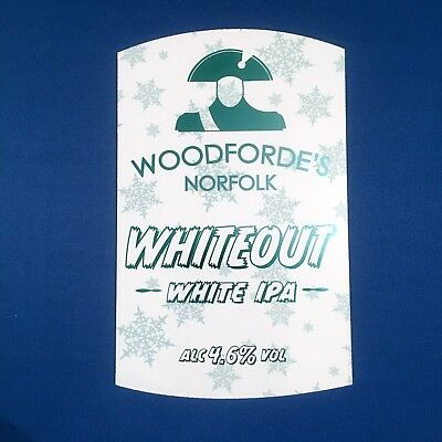 WOODFORDE'S beer pump clip badge - WHITE OUT Norwich Brewery *FREE P&P W/OTHERS*