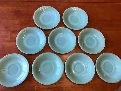 """Lot of 4 Vintage Fire King Jadeite Saucers Ribbed Jane Ray Pattern 5 7/8"""" Plate"""