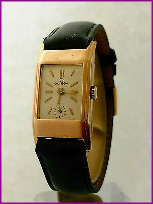 Extremely Rare Vintage Omega 20F Tank Art Deco Gold Plated Men's Watch