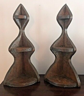 Mid Century Modern Wood Corner Display Shelves Vintage 1950's-1960's Set Of Two