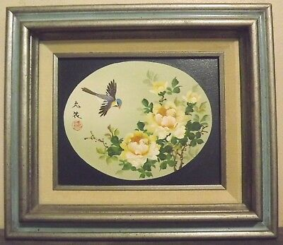 Original Signed unreadable Asian oil canvas Painting Sparrow and Roses Framed