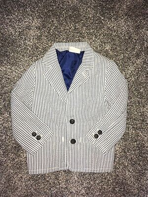 Boys Crazy 8 Striped Blazer White And Blue Stripes Size 3T Christmas Outfit