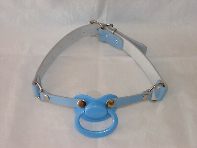 NEW Real Leaather Blue Pacigag Dummy Pacifier Ball Gag age play baby ballgag