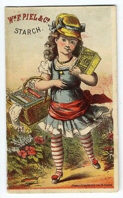 PIEL & CO LUMP and CORN STARCH Victorian Trade Card LITTLE GIRL Boxes of Product