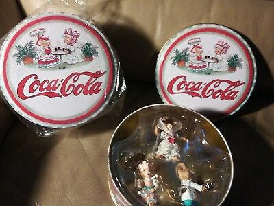 "2001 Coca-Cola 6""  Mouse Tin 3 Dressed-Up Mice Bottle Cap Christmas Ornaments"