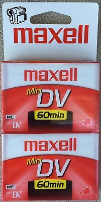 Maxell ME Mini DV 60 Min Camcorder Twin Pack  Cassette Tapes - New