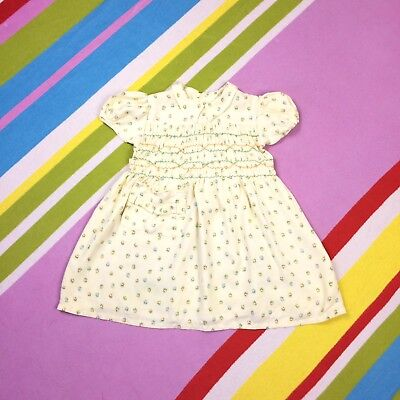 1940s Girls Vtg Prairie Dress Yellow Floral 1950s Age 3 4 5 years